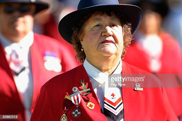 Members of the Red Cross march in the parade for Anzac Day April 25 2005 in Perth Australia Australians and New Zealanders are today commemorating...