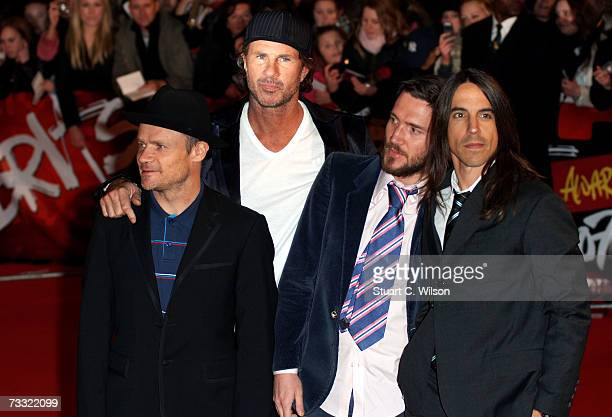 Members of the Red Hot Chilli Peppers Flea Chad Smith John Frusciante and Anthony Kiedis arrive at the BRIT Awards 2007 in association with...