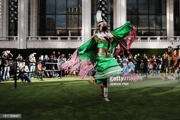 Members of the Redhawk Native American Arts Council perform traditional dances at Lincoln Center's newly designed outdoor space on May 10, 2021 in...