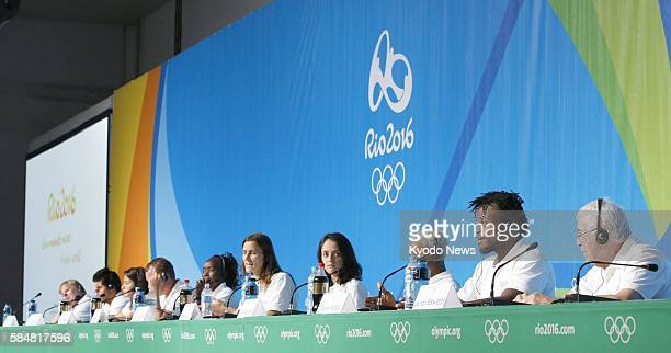 Members of the Refugee Olympic Team hold a press conference in Rio de Janeiro on July 30 ahead of the Aug. 5 opening of the Summer Games in the...