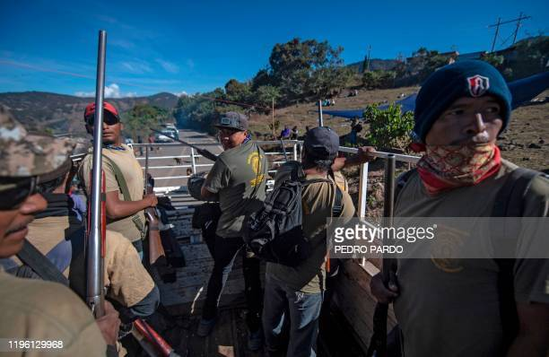 Members of the Regional Coordinator of Community Authorities community police force patrol the village of Ayahualtempan Guerrero State Mexico on...