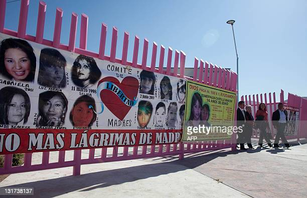 Members of the Relatives and Parents of Missing People Committee leave after the inauguration of a memorial for three murdered women in Ciudad Juarez...
