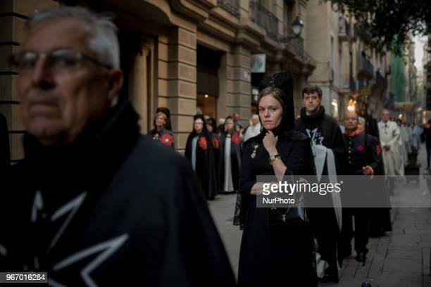 Members of the religious community parade during the Corpus Christi procession in Barcelona Spain on 3rd June 2018 The solemnity of Corpus Christi in...
