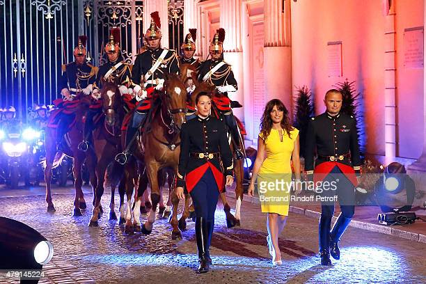 Members of the Republican Horse Guards Helene Bussy Colonel Alain Puligny Actress Laetitia Milot and Members of the Republican Horse Guards Helene...