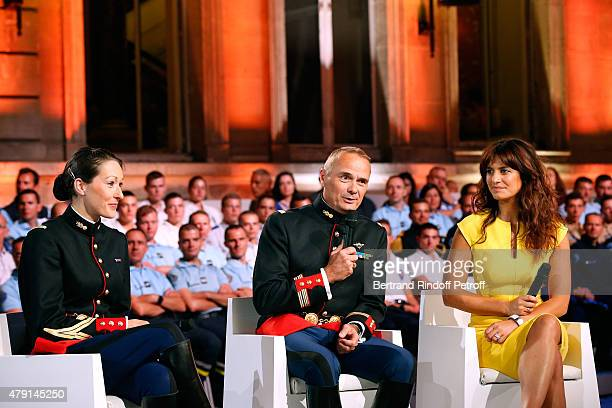 Members of the Republican Horse Guards Helene Bussy Colonel Alain Puligny and Actress Laetitia Milot attend the 'Une Nuit avec la Police et la...