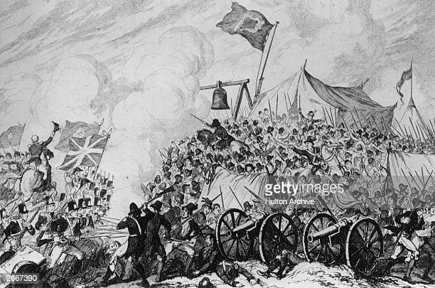 Members of the republican United Irishmen fighting British troops at the Battle of Vinegar Hill in Co Wexford, Eire.
