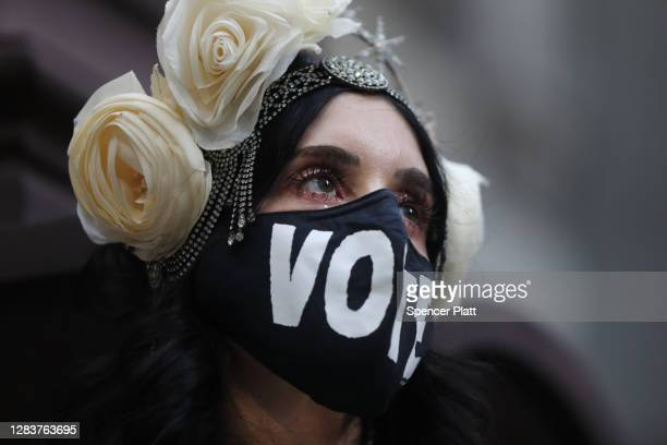 Members of the Resistance Revival Chorus perform outside of the City Hall polling site on November 03, 2020 in Philadelphia, Pennsylvania. After a...