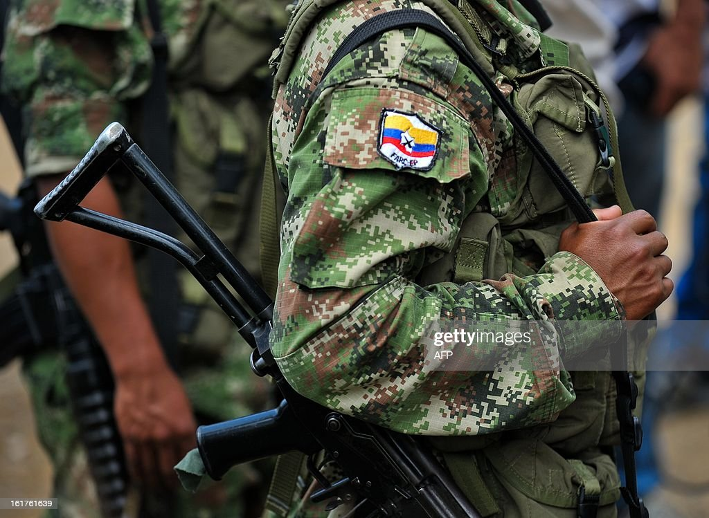 Members of the Revolutionary Armed Forces of Colombia (FARC) guerrillas, guard the mountainous region of the department of Cauca, around Montealagre, Colombia, on February 15, 2013 after they relea...
