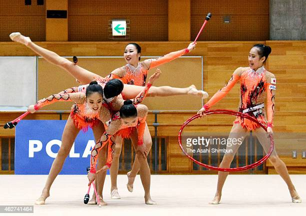 Members of the rhythmic gymnastics Japan team perform during a training session at the National Training Center on February 3 2015 in Tokyo Japan