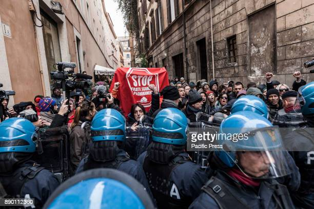 Members of the Right to Housing movement protest against the demonstration of Lega Nord party lagainst the 'Ius Soli' law in Rome Italy on December...