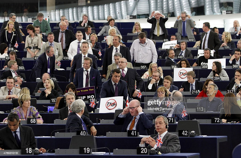 EU Parliament Debates TTIP and Kyoto Protocol : News Photo