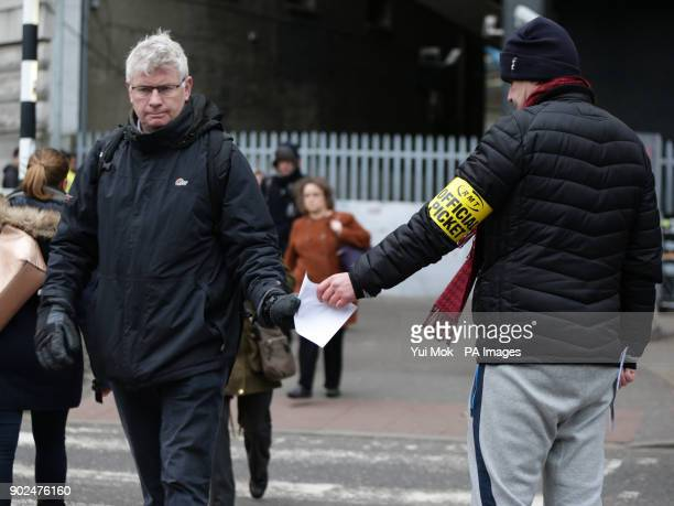 Members of the RMT union on the picket line outside Waterloo station in London as workers in five rail companies are staging a fresh wave of strikes...