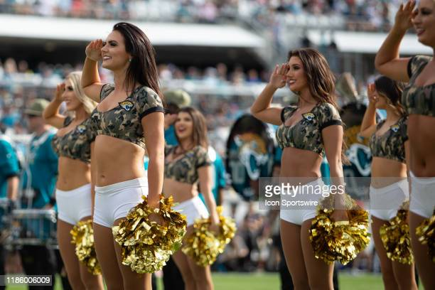 Members of The Roar, the Jacksonville Jaguars cheerleading squad, during the game between the Tampa Bay Buccaneers and the Jacksonville Jaguars on...