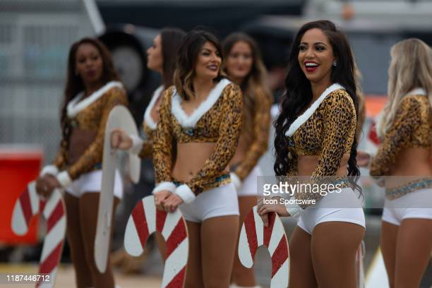 Members of The Roar, the Jacksonville Jaguars cheerleading squad, during the game between the Los Angeles Chargers and the Jacksonville Jaguars on...