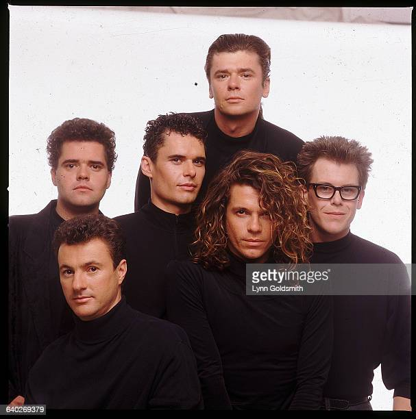Members of the rock band INXS are from left Andrew Farris Garry Gary Beers Jon Farris Tim Farris Michael Hutchence and Kirk Pengilly