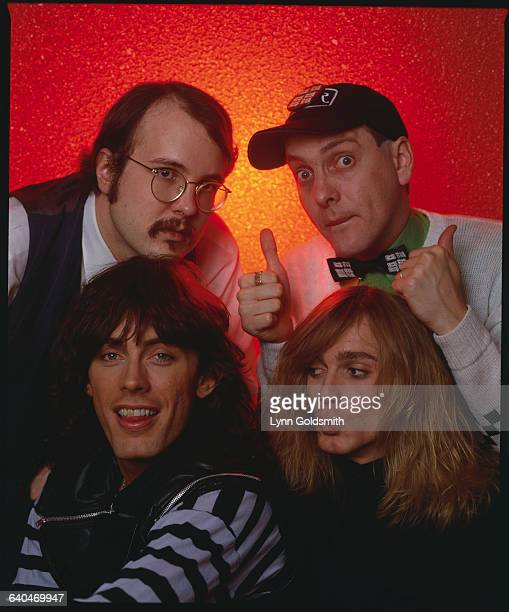 Members of the rock group Cheap Trick Rick Nielson Robin Zander Tom Petersson and Bun E Carlos