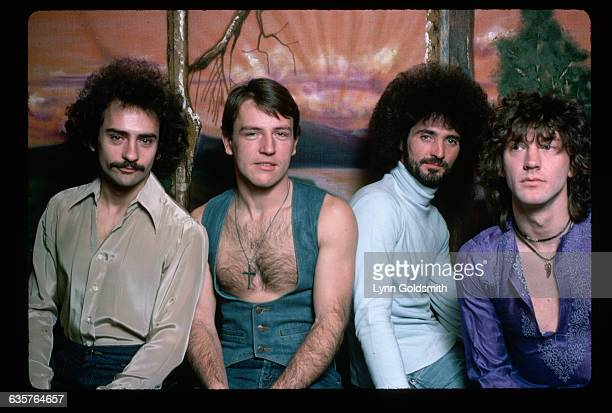 Members of the rock group Grand Funk Railroad are from left Mel Schacher Mark Farner Don Brewer and Craig Frost
