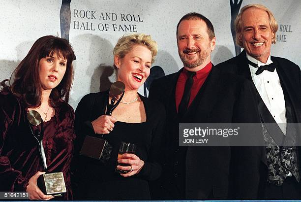 Members of the rock group The Mamas and the Papas Michelle Phillips Denny Doherty and John Phillips appear with Owen Elliot who is standing in to...