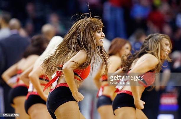 Members of the Rockets Power Dancers perform during their game against the Dallas Mavericks at the Toyota Center on November 22 2014 in Houston Texas...