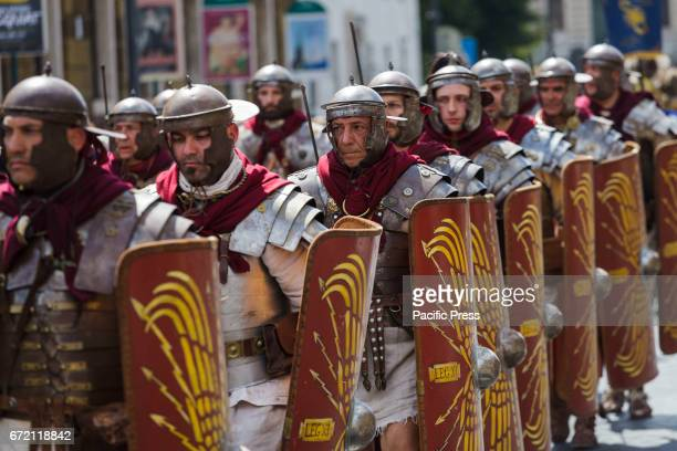 Members of the Roman Historical Group parade in the areas of Colosseum Circus Maximus and the Roman Forum to celebrate the 2770th anniversary of the...