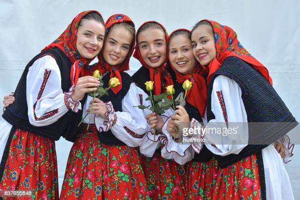 Members of the Romanian folk group 'Doruri Satmarene' after they performed songs and dances from Transylvania and Oas Maramures and Somes areas...