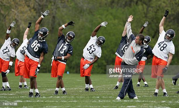 Members of the rookie class of the 2007 Chicago Bears participate in a special teams drill at their first mini-camp practice May 4, 2007 at Halas...