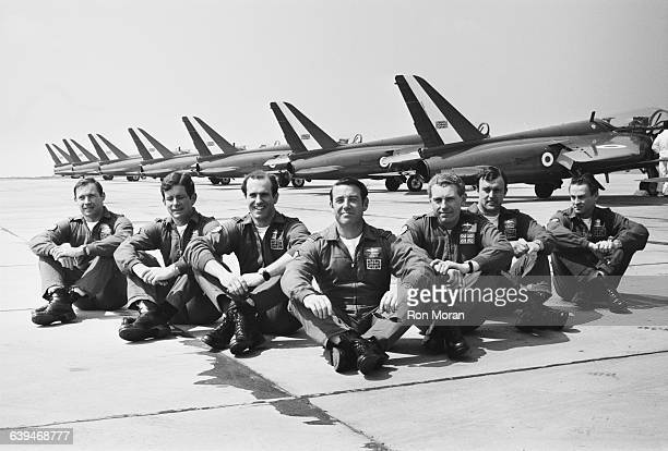 Members of the Royal Air Force Aerobatic Team known as the Red Arrows in training at Little Rissington UK 20th May 1971