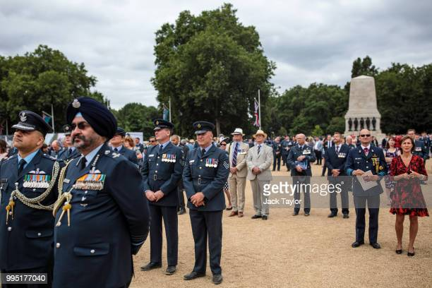 Members of the Royal Air Force and representatives of foreign air forces gather at Horse Guards Parade during RAF 100 celebrations on July 10 2018 in...