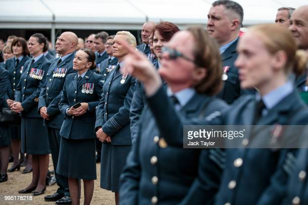 Members of the Royal Air Force gather at Horse Guards Parade during RAF 100 celebrations on July 10 2018 in London England A centenary parade and a...