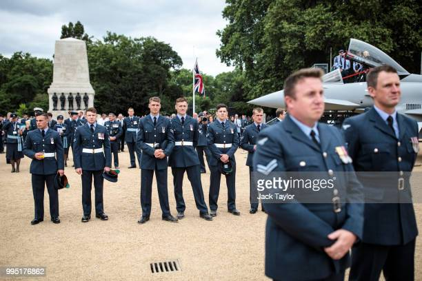 Members of the Royal Airforce gather at Horse Guards Parade during RAF 100 celebrations on July 10 2018 in London England A centenary parade and a...