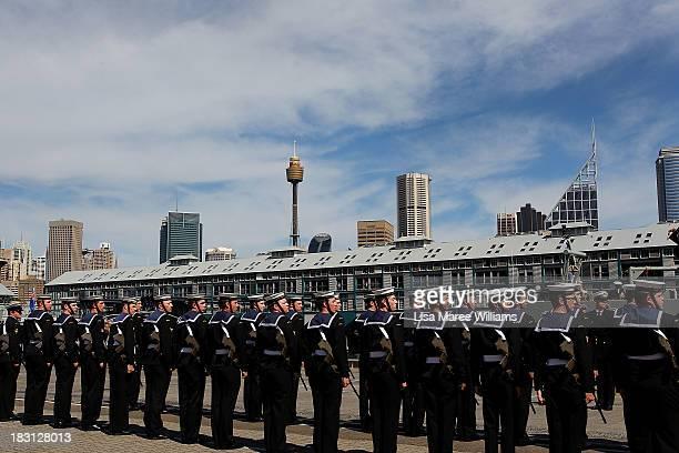Members of the Royal Australian Navy assemble alongside the Leeuwin at Garden Island on October 5, 2013 in Sydney, Australia. Over 50 ships...