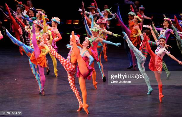 """Members of The Royal Ballet dance in Elite Syncopations by Kenneth MacMillan during the """"The Royal Ballet: Back on Stage"""" photocall at The Royal..."""