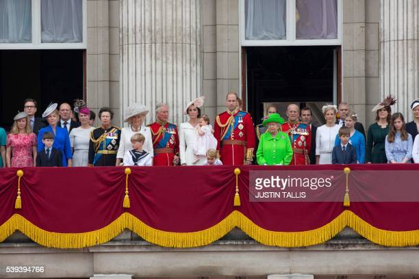 Members of the Royal family and guests including Mike Tindall Zara Philips Britain's Princess Anne Princess Royal Britain's Camilla Duchess of...