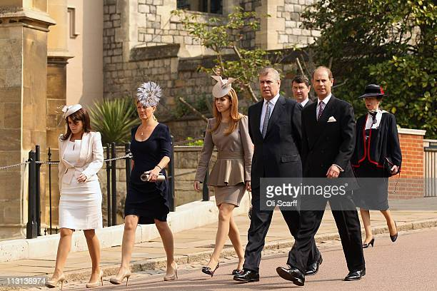Members of the royal family arrive to attend the Easter Matins at St George's Chapel in Windsor Castle on April 24 2011 in Windsor England The annual...
