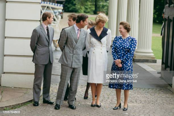 Members of the Royal family at Clarence House in London for the Queen Mother's 87th birthday 4th August 1987 From left to right Prince Edward...