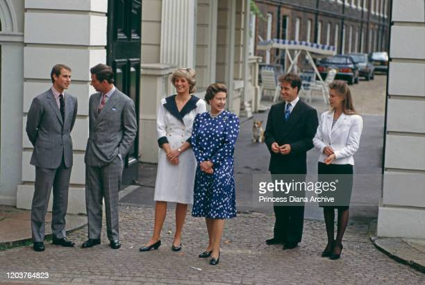 Members of the Royal family at Clarence House in London for the Queen Mother's 87th birthday 4th August 1987 From left to right Prince Edward Prince...