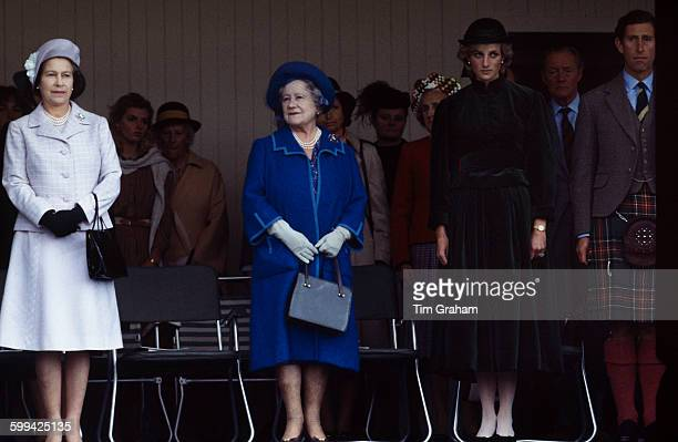 Members of the royal family at the Braemar Highland Gathering Scotland September 1983 Left to right Queen Elizabeth the Queen Mother Princess Diana...