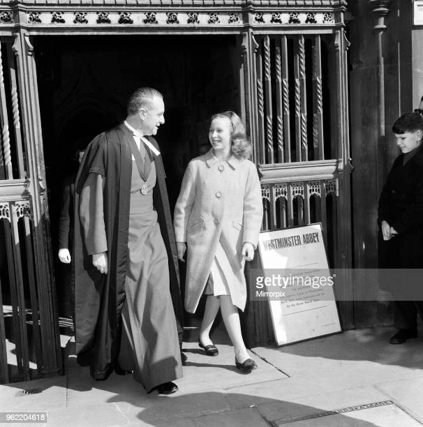 Members of the Royal Family attend a rehearsal at Westminster Abbey ahead of the wedding of Princess Alexandra of Kent and Angus Ogilvy. Bridesmaid...