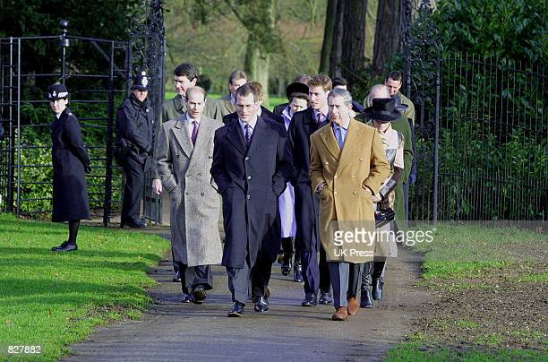 Members of the Royal Family attend the Christmas Day service at Sandringham Church December 25 2001 in Norfolk England