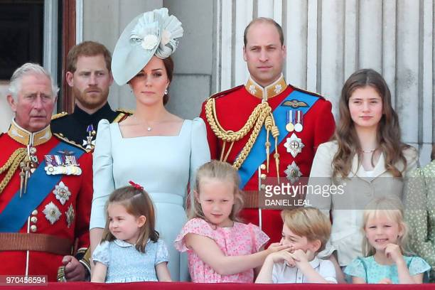Members of the Royal Family Britain's Prince Charles Prince of Wales Britain's Catherine Duchess of Cambridge and Britain's Prince William Duke of...