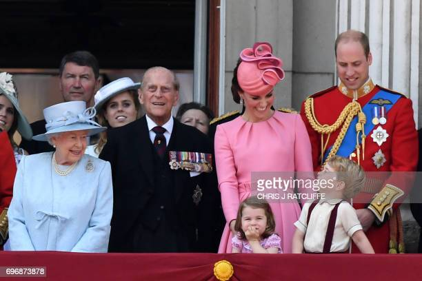 Members of the Royal Family Britain's Queen Elizabeth II, Vice Admiral Timothy Laurence, Britain's Princess Beatrice of York, Britain's Prince...