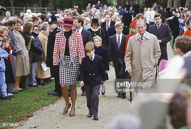 Members Of The Royal Family During A Walkabout At Sandringham After Attending A Christening Service. From Left To Right: Princess Diana, Prince...