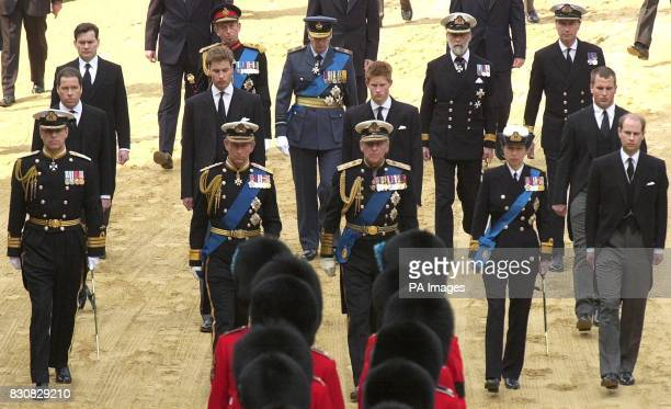Members of the Royal family follow the coffin of Britain's Queen Mother during the ceremonial procession to London's Westminster Hall * They are...