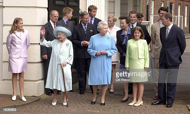 Members of the Royal Family help Britain''s Queen Mother celebrate her 101st birthday August 4 2001 in London