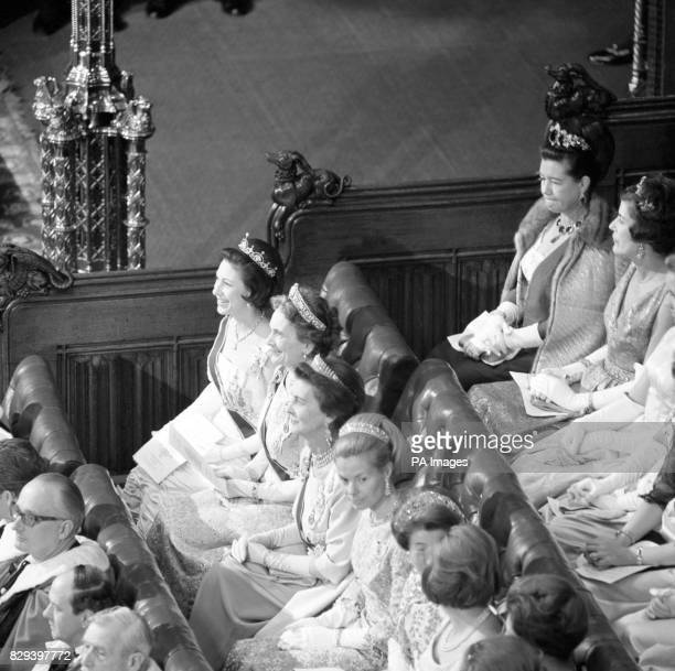 Members of the Royal Family in the House of Lords when they attended the ceremonial Opening of Parliament by the Queen From top to bottom are...