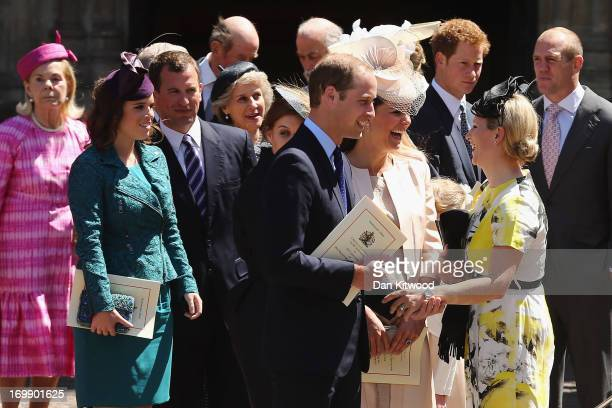 Members of the Royal family including Katharine Duchess of Kent Princess Eugenie Peter Phillips Prince William Duke of Cambridge Catherine Duchess of...