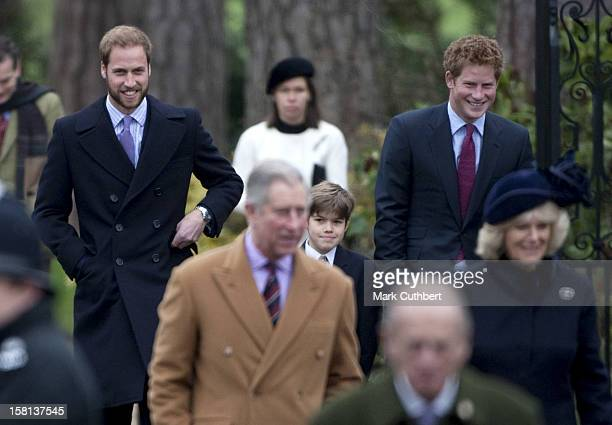 Members Of The Royal Family Including Prince William Prince Harry Prince Charles Camilla Prince Philip And Arthur Chatto Attend The Morning Service...