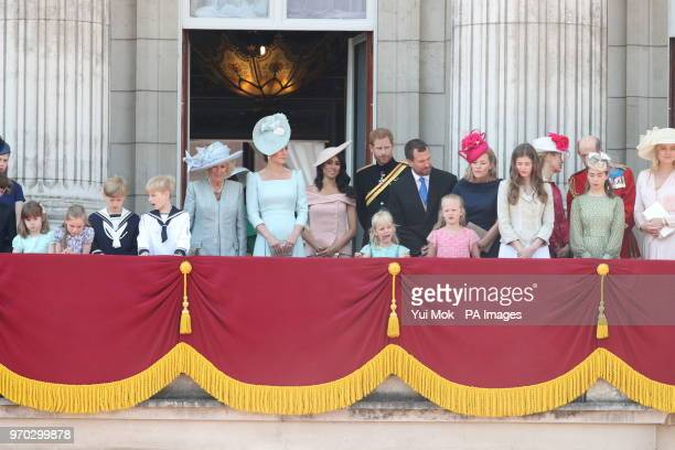 Members of the royal family including the Duchess of Cornwall Duchess of Cambridge the Duke and Duchess of Sussex and Peter Phillips and his wife...