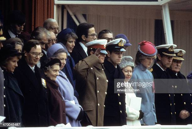 Members of the Royal Family including The Duchess of Gloucester The Duke of Gloucester Princess Alice Princess Anne Prince Edward Prince Andrew...