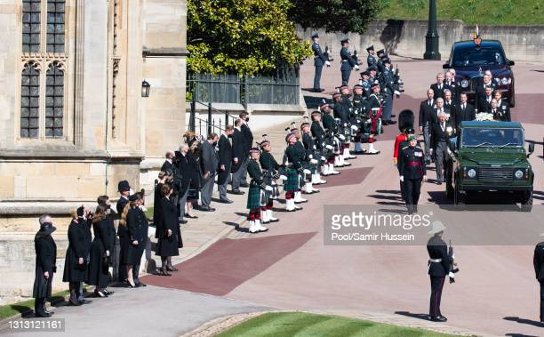 Members of the Royal Family line up to look on as Prince Charles, Prince of Wales, Prince Andrew, Duke of York, Prince Edward, Earl of Wessex, Prince...